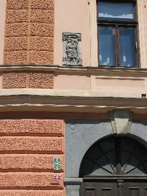 relief sv. Krištofa na pročelju hiše
